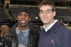 With former UT Martin All-American Lester Hudson during his rookie season with the Boston Celtics.