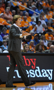 Tennessee Lady Vols Head Coach Emeritus Pat Summitt on the sidelines at Thompson Boling Arena during a 2012 game against South Carolina. PHOTO COURTESY TENNESSEE ATHLETICS
