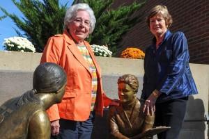 "UT Martin legends Bettye Giles (left) and Pat Head Summitt (right) pose with their newly dedicated ""Coaches"" statue outside UT Martin's Skyhawk Arena. PHOTO COURTESY UT MARTIN UNIVERSITY RELATIONS"