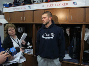 Associated Press Sports Editor Teresa Walker interviewing Tennessee Titans quarterback Jack Locker in front of his locker at the end of last season. PHOTO COURTESY TENNESSEE TITANS