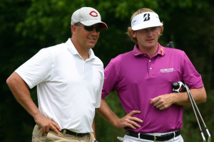 Snedeker chatting with playing partner and fellow Nashvillian Kirk Herbstreit of ESPN College Gameday during 'The Vinny' benefiting Tennessee Junior Golf. PHOTO BY MATTHEW MAXEY