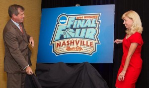 Nashville Mayor Karl Dean (left) and OVC Commissioner Beth DeBauche (right) unveiled the Nashville Final Four logo during a celebration event in June. / PHOTO COURTESY OHIO VALLEY CONFERENCE