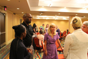OVC Commissioner Beth DeBauche (center) and OVC Associate Commissioner Brad Walker (left) answering questions at a recent meeting of the Nashville Leadership Organizing Committee. / PHOTO BY KYLE SCHWARTZ/OHIO VALLEY CONFERENCE