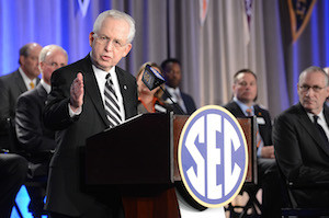 Southeastern Conference Commissioner Mike Slive made the official announcement of the new SEC Network at a press conference in Birmingham with coaches, ESPN executives and the media. PHOTO COURTESY ESPN
