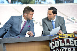 """New traveling """"SEC Nation"""" host Joe Tessitore (right) and analyst Tim Tebow (left) first worked together at this year's Rose Bowl PHOTO BY SCOTT CLARK/ESPN IMAGES"""