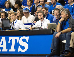 Sage serving as color analyst with Voice of the Bruins Kevin Ingram as Belmont took on the Kentucky Wildcats at Rupp Arena during the 2013-14 season. PHOTO COURTESY BELMONT ATHLETICS