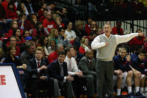 Belmont head coach Rick Byrd calling out a play during the Bruins February win over Murray State at the Curb Event Center. PHOTO BY MATTHEW MAXEY