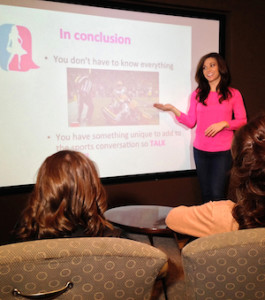 """Taryn Foshee speaks to groups of all sizes, from large corporate gatherings to small circles of female friends, helping each of them learn that """"women can talk sports."""" PHOTO COURTESY WOMEN CAN TALK SPORTS"""