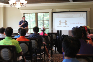 Tennessee junior golf alumni and PGA TOUR professional Scott Stallings speaking to juniors at the national AJGA event he hosts at TPC Southwind in Memphis. PHOTO COURTESY AMERICAN JUNIOR GOLF ASSOCIATION