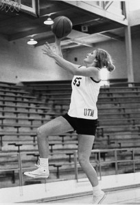 Pat (Head) Summitt going for a layup while playing for UT Martin. An inaugural member of the Hall of Fame, she still ranks among the top five career leaders in four offensive categories. PHOTO COURTESY UT MARTIN ATHLETICS